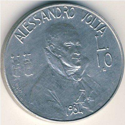 MONETA DA 10 LIRE REPUBBLICA DI SAN MARINO ALESSANDRO VOLTA 1984
